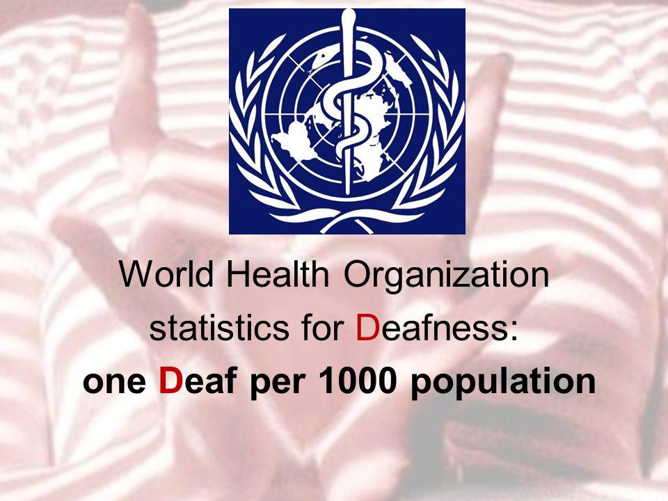 World Health Organization statistics for Deafness: one Deaf per 1000 population