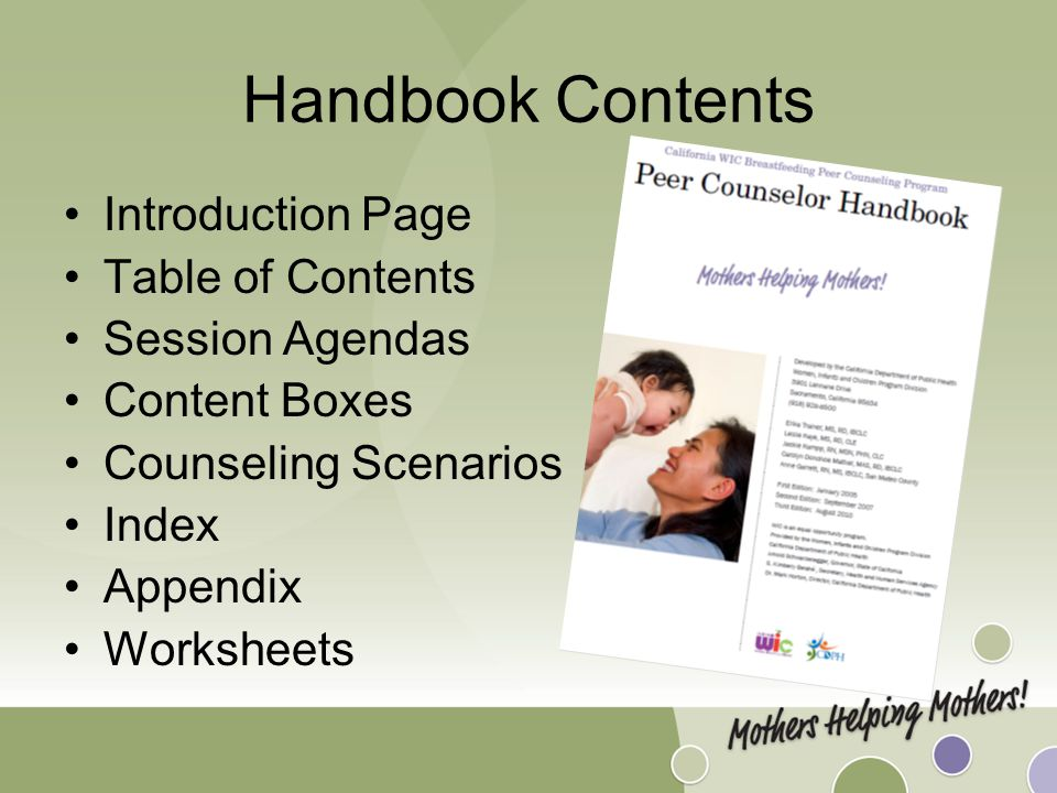 Handbook Contents Introduction Page Table of Contents Session Agendas Content Boxes Counseling Scenarios Index Appendix Worksheets