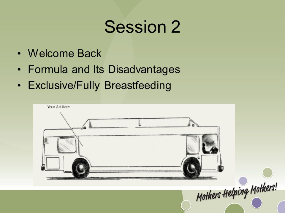Session 2 Welcome Back Formula and Its Disadvantages Exclusive/Fully Breastfeeding