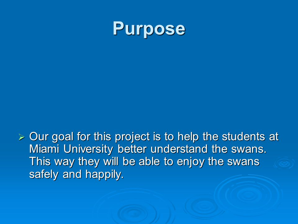 Purpose  Our goal for this project is to help the students at Miami University better understand the swans.