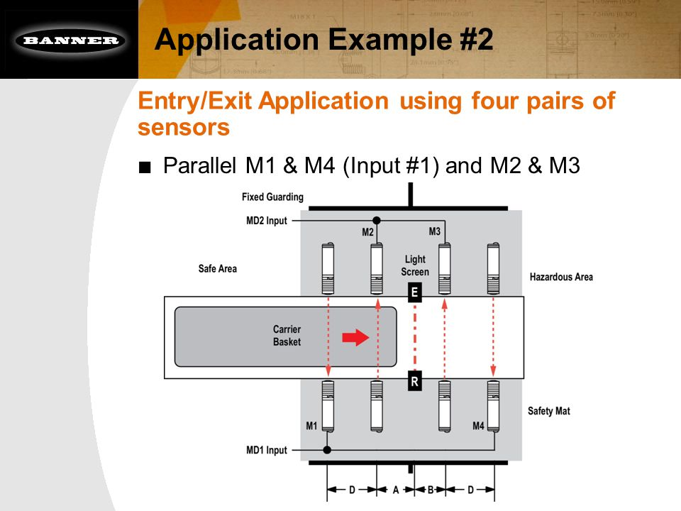 Application Example #2 Entry/Exit Application using four pairs of sensors ■ Parallel M1 & M4 (Input #1) and M2 & M3 (Input #2)