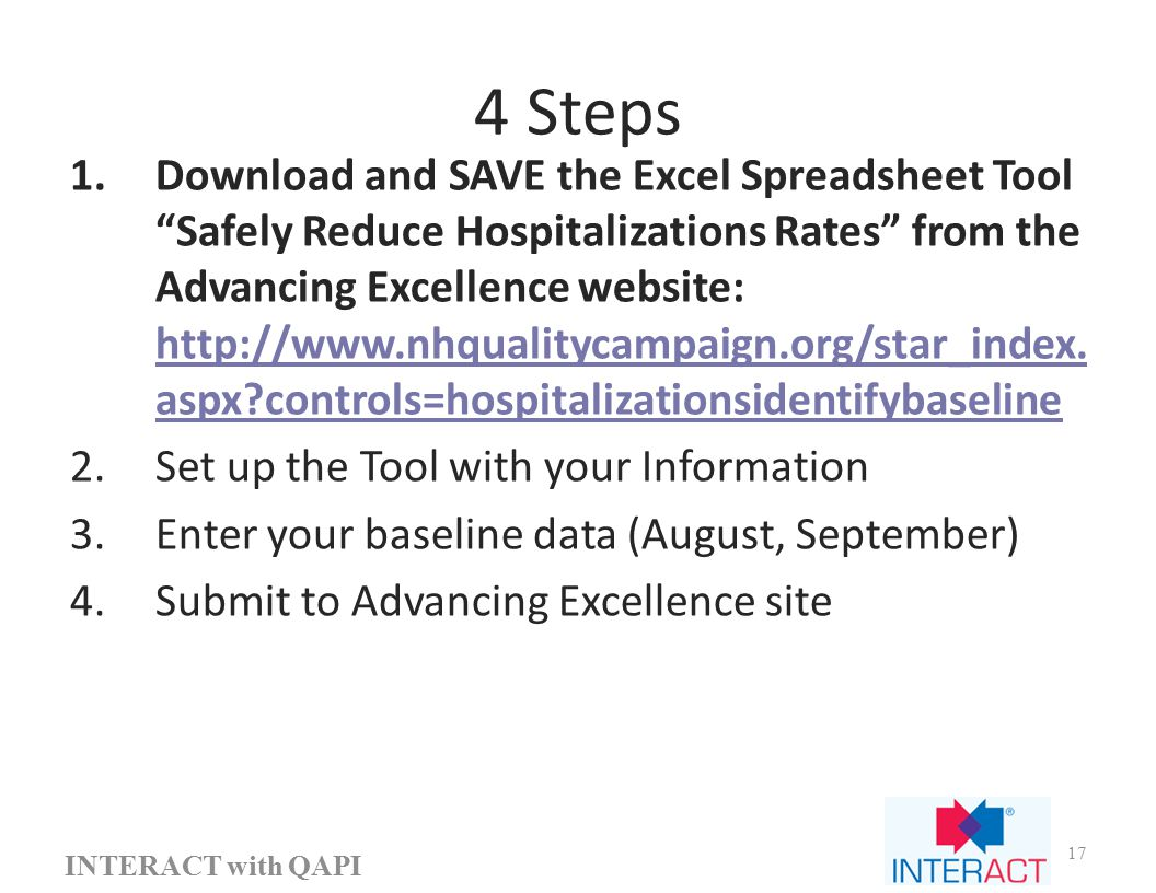 4 Steps 1.Download and SAVE the Excel Spreadsheet Tool Safely Reduce Hospitalizations Rates from the Advancing Excellence website: http://www.nhqualitycampaign.org/star_index.