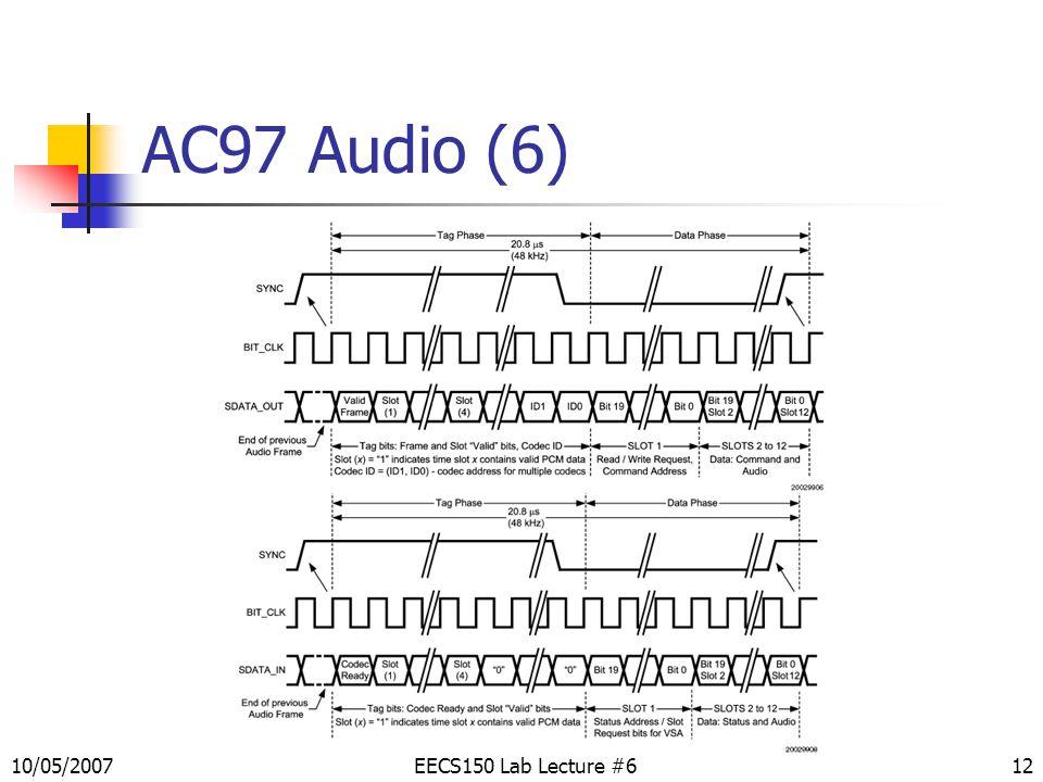 12 AC97 Audio (6) EECS150 Lab Lecture #610/05/2007