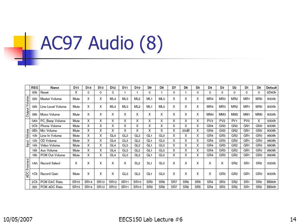 14 AC97 Audio (8) EECS150 Lab Lecture #610/05/2007