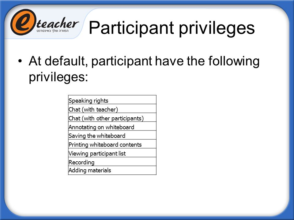 Participant privileges At default, participant have the following privileges: Speaking rights Chat (with teacher) Chat (with other participants) Annot