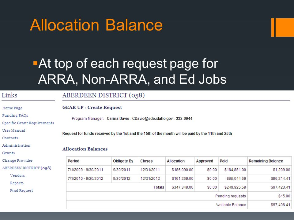 Allocation Balance  At top of each request page for ARRA, Non-ARRA, and Ed Jobs