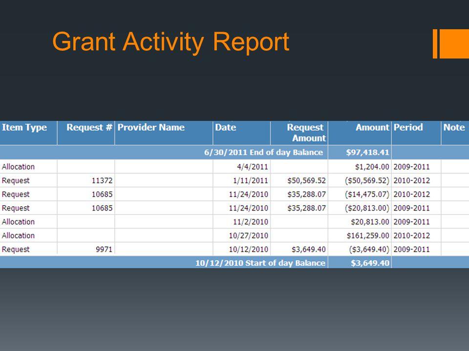 Grant Activity Report