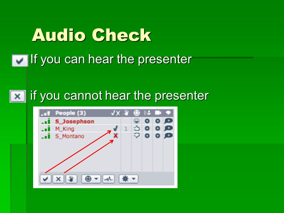 If you can hear the presenter if you cannot hear the presenter Audio Check