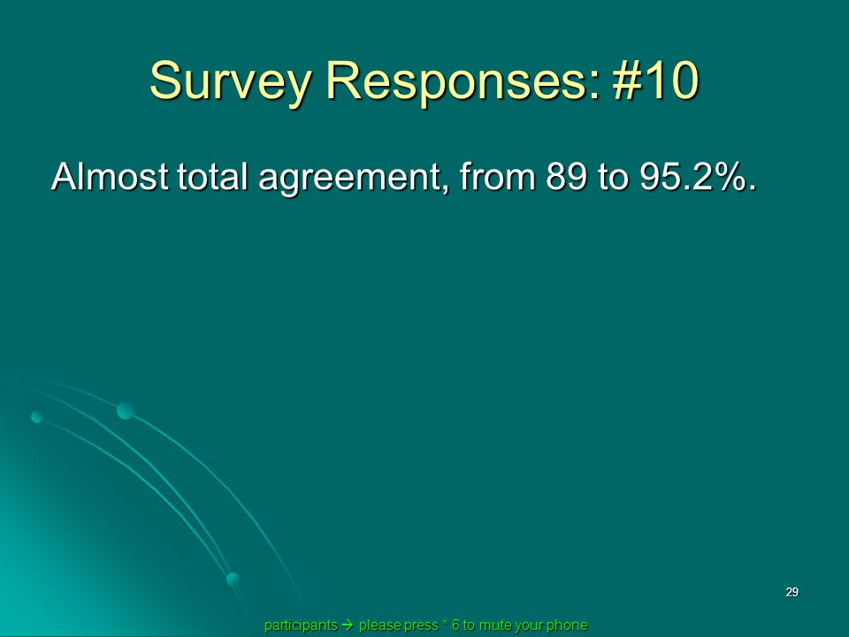 participants  please press * 6 to mute your phone participants  please press * 6 to mute your phone 29 Survey Responses: #10 Almost total agreement, from 89 to 95.2%.