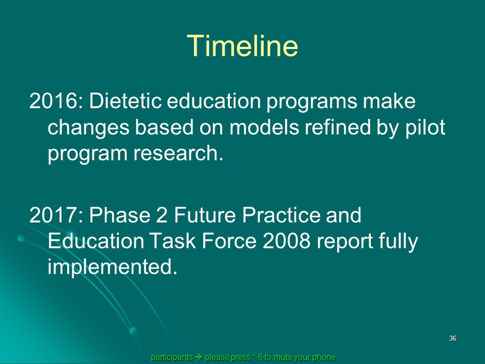 participants  please press * 6 to mute your phone participants  please press * 6 to mute your phone 36 Timeline 2016: Dietetic education programs make changes based on models refined by pilot program research.