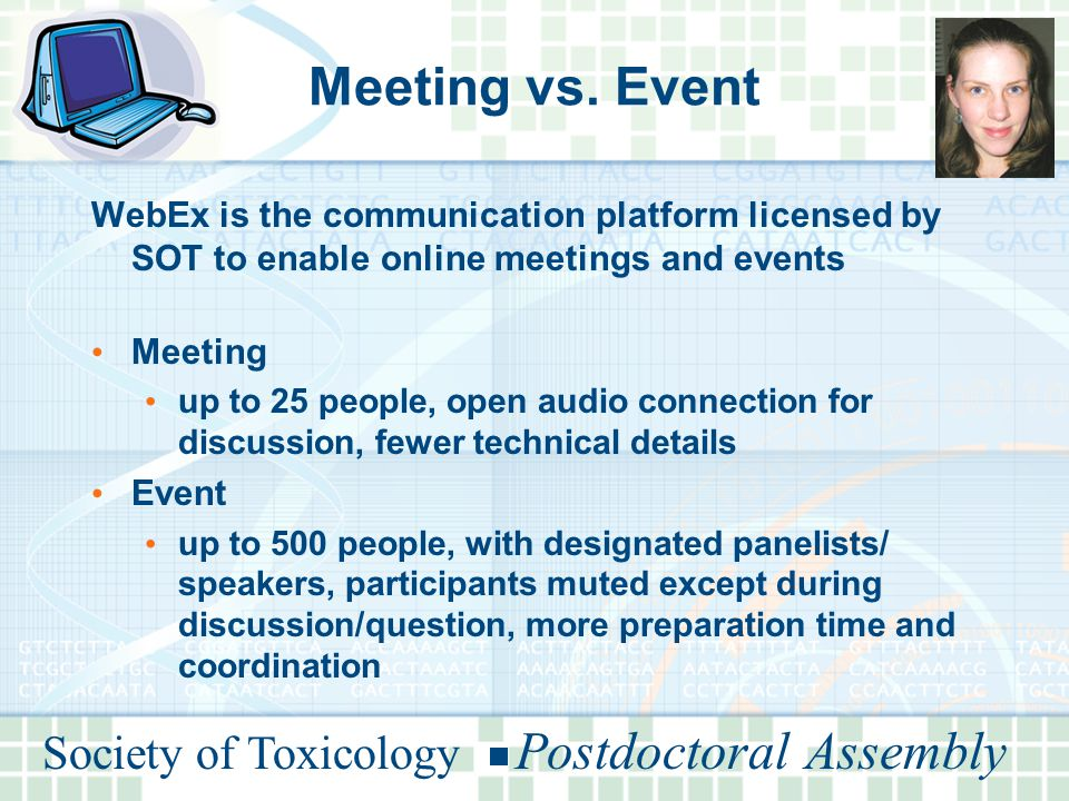 Society of Toxicology Postdoctoral Assembly Meeting vs.