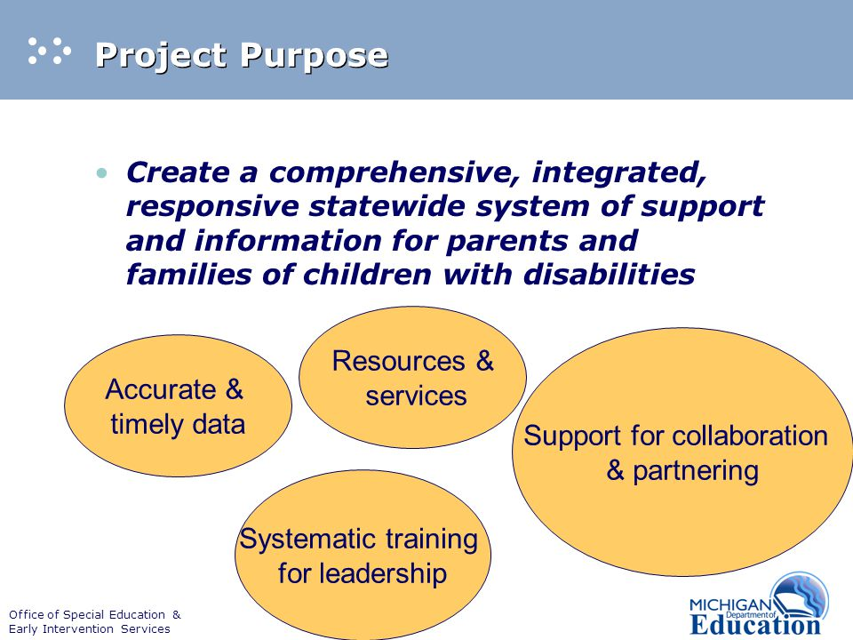 Office of Special Education & Early Intervention Services Project Purpose Create a comprehensive, integrated, responsive statewide system of support a