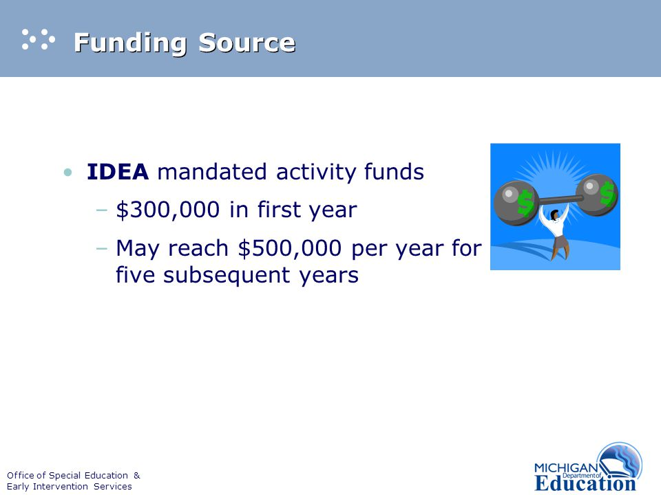 Office of Special Education & Early Intervention Services Funding Source IDEA mandated activity funds –$300,000 in first year –May reach $500,000 per