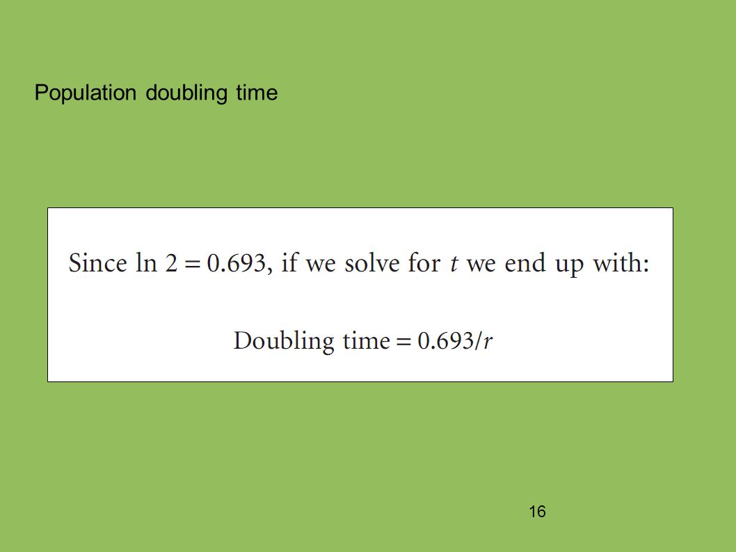 16 Population doubling time