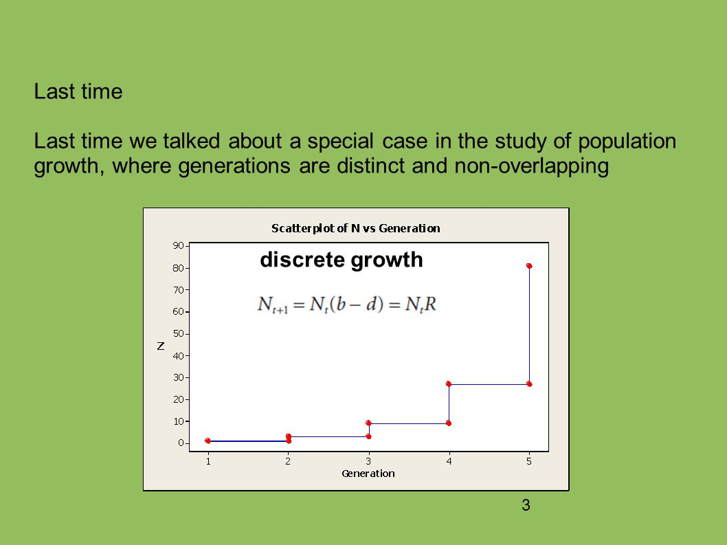 3 Last time Last time we talked about a special case in the study of population growth, where generations are distinct and non-overlapping discrete growth