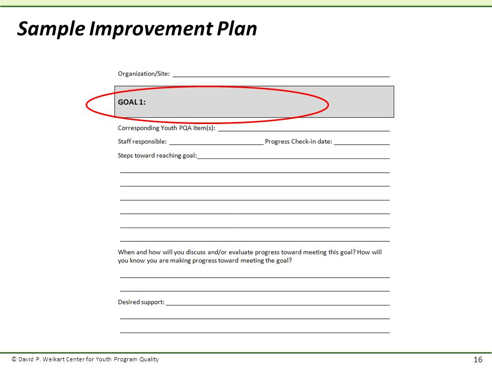 © David P. Weikart Center for Youth Program Quality 16 Sample Improvement Plan