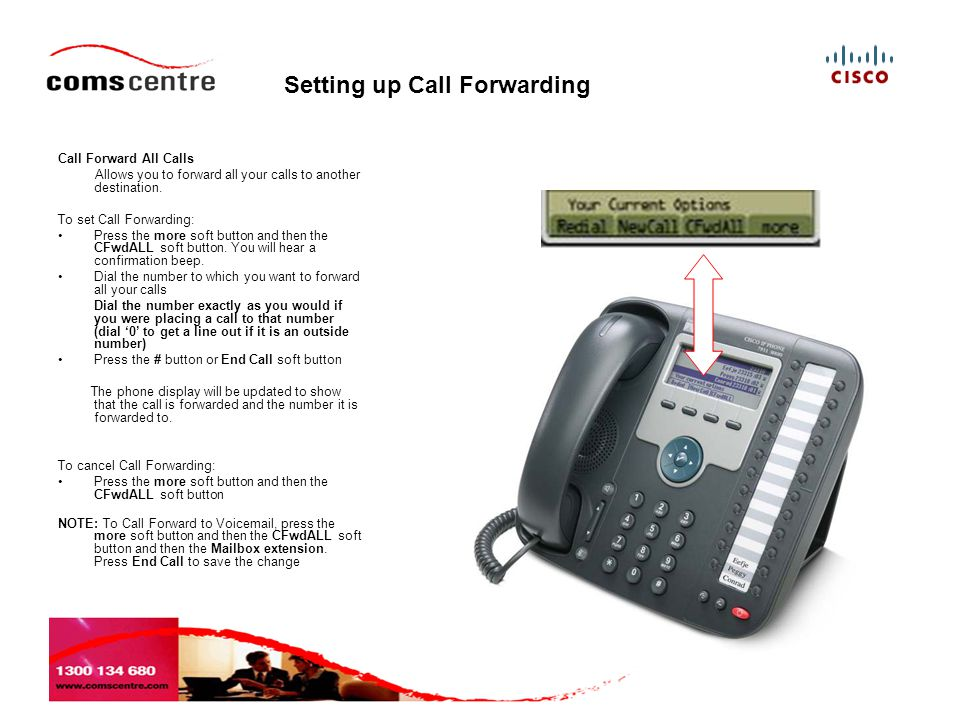 Setting up Call Forwarding Call Forward All Calls Allows you to forward all your calls to another destination.