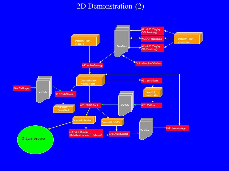 Dataset4: shot w/elev stat Dataset5: shot w/decon 2D Demonstration (2) DataBase 041=005: Display (NN Training) 042:NN FBpicking 043=005: Display (FB C
