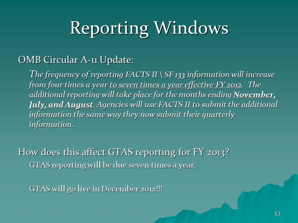 13 Reporting Windows OMB Circular A-11 Update: T he frequency of reporting FACTS II \ SF 133 information will increase from four times a year to seven times a year effective FY 2012.