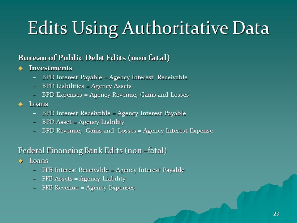 23 Edits Using Authoritative Data Bureau of Public Debt Edits (non fatal)  Investments –BPD Interest Payable = Agency Interest Receivable –BPD Liabil