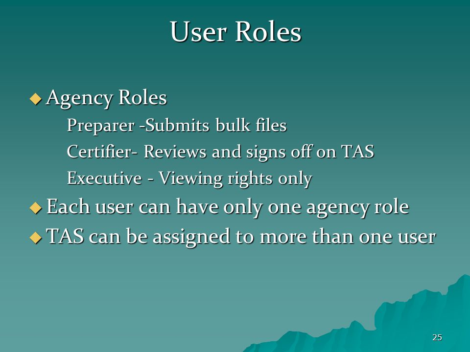 25 User Roles  Agency Roles Preparer -Submits bulk files Certifier- Reviews and signs off on TAS Executive - Viewing rights only  Each user can have only one agency role  TAS can be assigned to more than one user