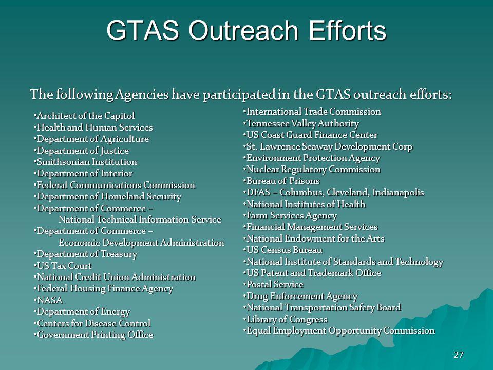 27 GTAS Outreach Efforts The following Agencies have participated in the GTAS outreach efforts: Architect of the CapitolArchitect of the Capitol Healt