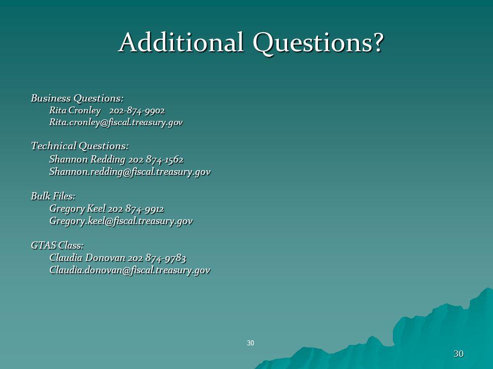 30 Additional Questions? Business Questions: Rita Cronley 202-874-9902 Rita.cronley@fiscal.treasury.gov Technical Questions: Shannon Redding 202 874-1