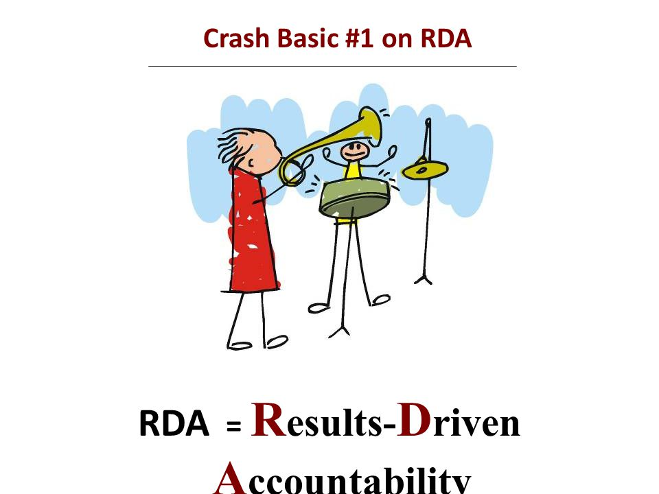 Crash Basic #6 on RDA Selecting improvement strategies to use What actions or strategies are needed to achieve the targeted result.
