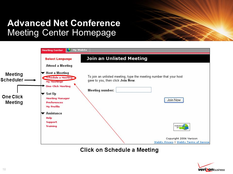 18 Advanced Net Conference Meeting Center Homepage Meeting Scheduler One Click Meeting Select Language Click on Schedule a Meeting