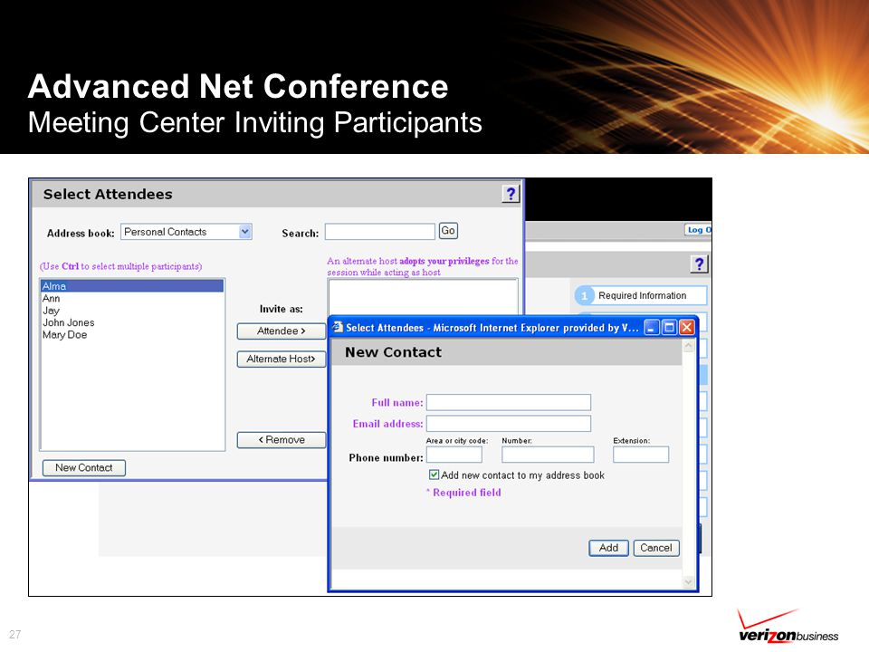27 Advanced Net Conference Meeting Center Inviting Participants