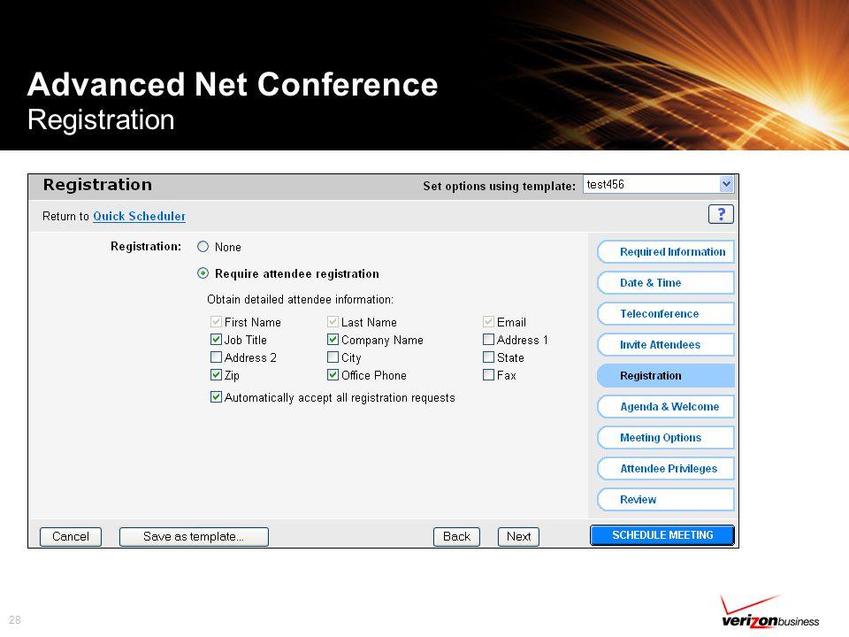 28 Advanced Net Conference Registration