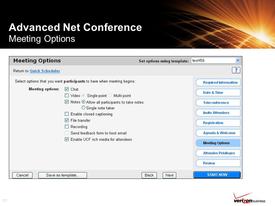 31 Advanced Net Conference Meeting Options