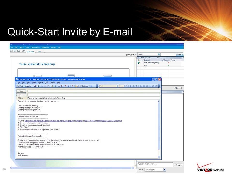 40 Quick-Start Invite by E-mail