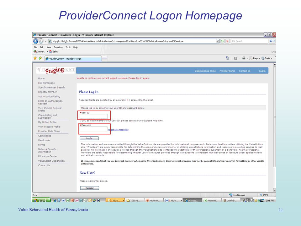 Value Behavioral Health of Pennsylvania 11 ProviderConnect Logon Homepage