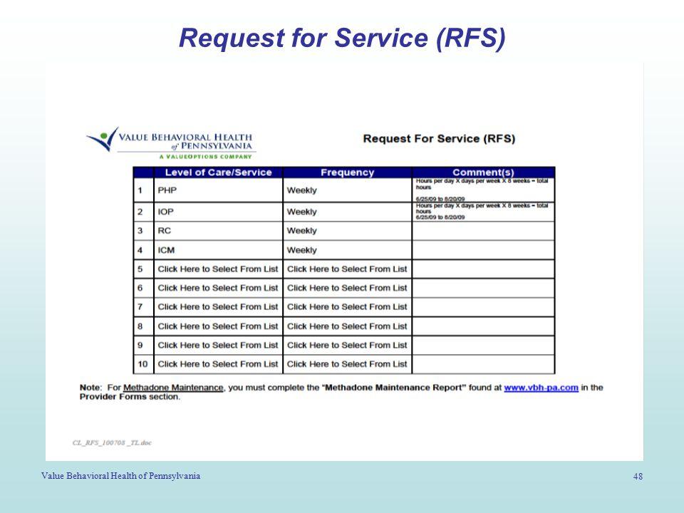 Value Behavioral Health of Pennsylvania 48 Request for Service (RFS)