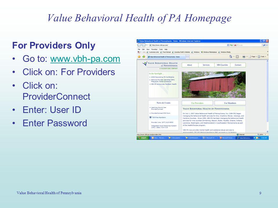 Value Behavioral Health of Pennsylvania 10 Value Behavioral Health of PA Web-Site