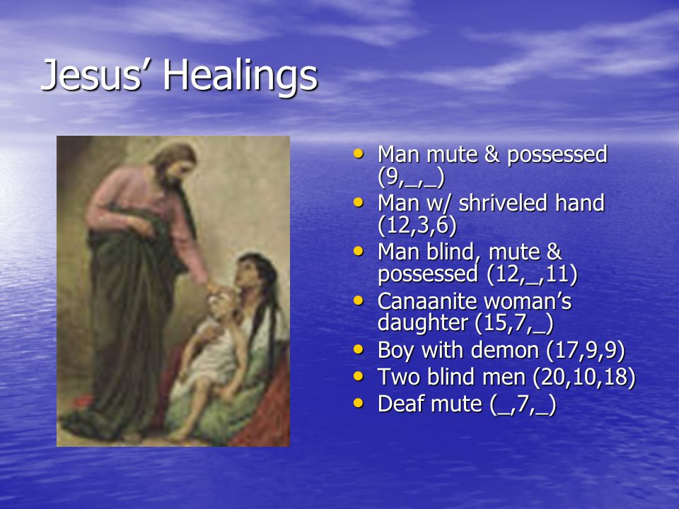 Jesus' Healings Man mute & possessed (9,_,_) Man mute & possessed (9,_,_) Man w/ shriveled hand (12,3,6) Man w/ shriveled hand (12,3,6) Man blind, mute & possessed (12,_,11) Man blind, mute & possessed (12,_,11) Canaanite woman's daughter (15,7,_) Canaanite woman's daughter (15,7,_) Boy with demon (17,9,9) Boy with demon (17,9,9) Two blind men (20,10,18) Two blind men (20,10,18) Deaf mute (_,7,_) Deaf mute (_,7,_)