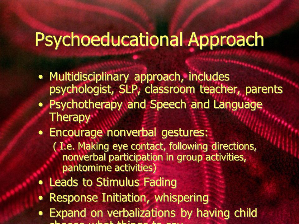 Psychoeducational Approach Multidisciplinary approach, includes psychologist, SLP, classroom teacher, parents Psychotherapy and Speech and Language Therapy Encourage nonverbal gestures: ( I.e.