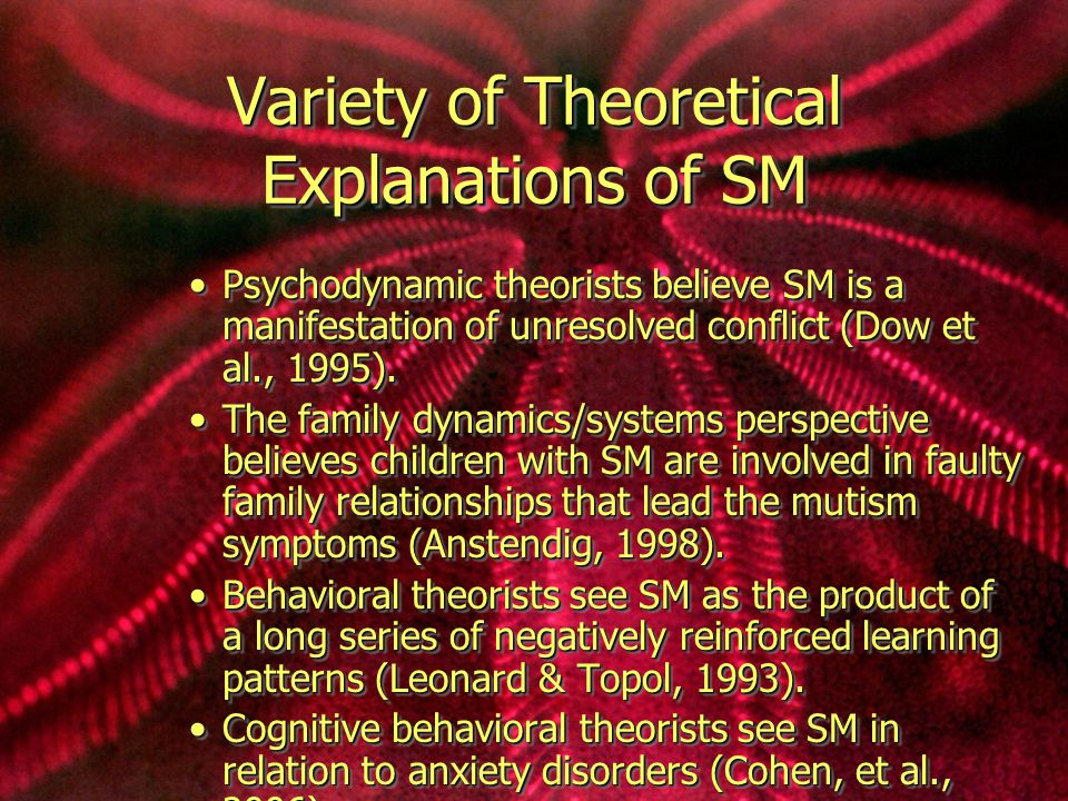 Variety of Theoretical Explanations of SM Psychodynamic theorists believe SM is a manifestation of unresolved conflict (Dow et al., 1995).Psychodynamic theorists believe SM is a manifestation of unresolved conflict (Dow et al., 1995).