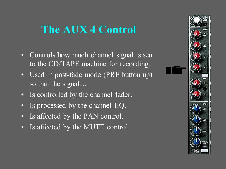The AUX 3 Control You get a break - we don't use it!