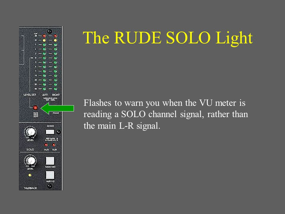 The VU Level Meter Used to measure signal levels. Main L/R Output if no solo buttons pressed.