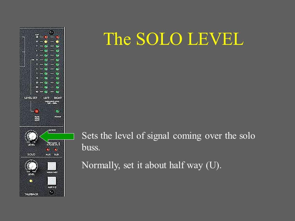 The RUDE SOLO Light Flashes to warn you when the VU meter is reading a SOLO channel signal, rather than the main L-R signal.