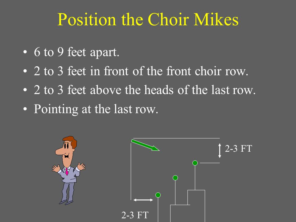 Choir Microphone Placement 6 - 9 FT Always use the minimum number of mikes necessary to cover the area.