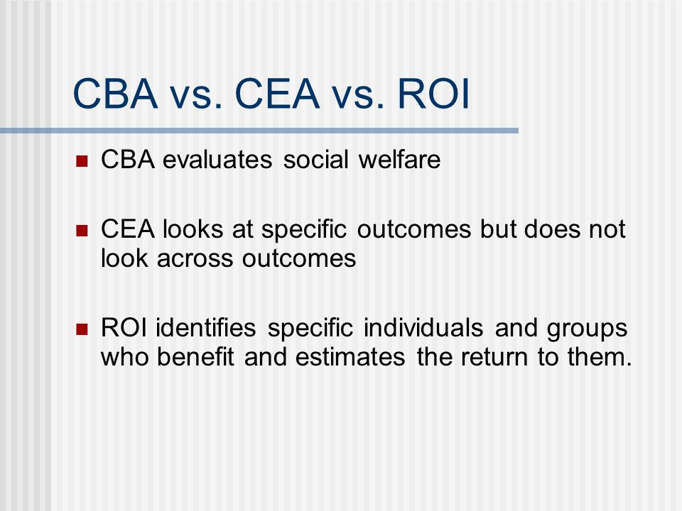 CBA vs. CEA vs. ROI CBA evaluates social welfare CEA looks at specific outcomes but does not look across outcomes ROI identifies specific individuals