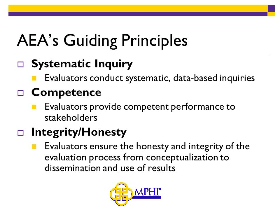 AEA's Guiding Principles  Systematic Inquiry Evaluators conduct systematic, data-based inquiries  Competence Evaluators provide competent performance to stakeholders  Integrity/Honesty Evaluators ensure the honesty and integrity of the evaluation process from conceptualization to dissemination and use of results