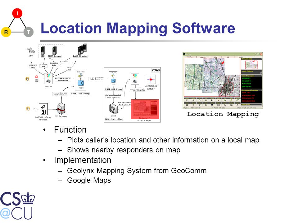 Location Mapping Software Function –Plots caller's location and other information on a local map –Shows nearby responders on map Implementation –Geolynx Mapping System from GeoComm –Google Maps