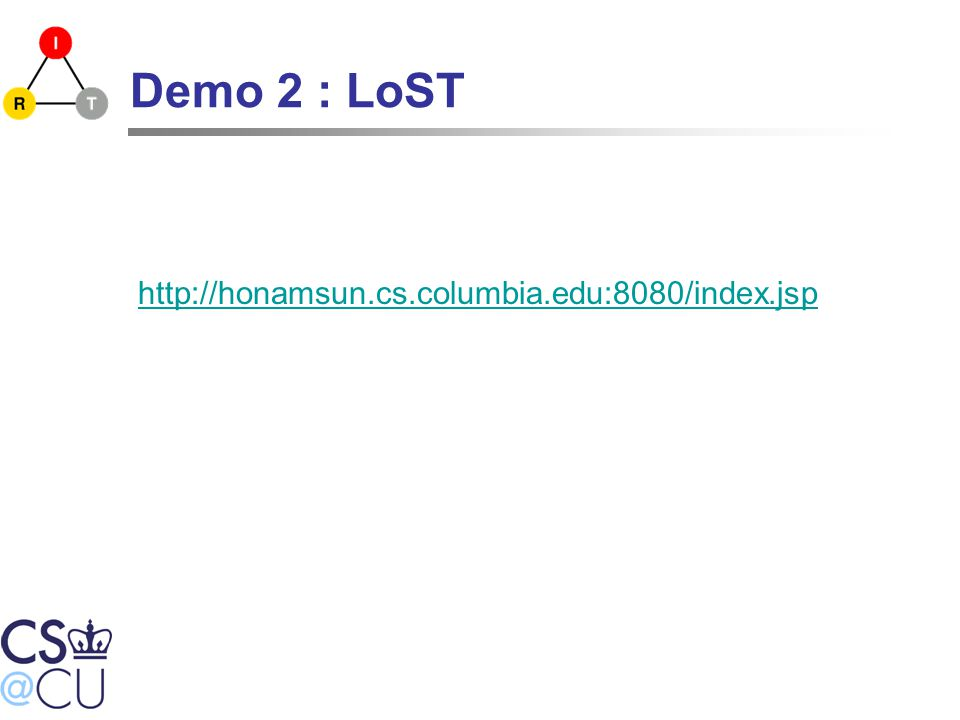 Demo 2 : LoST http://honamsun.cs.columbia.edu:8080/index.jsp