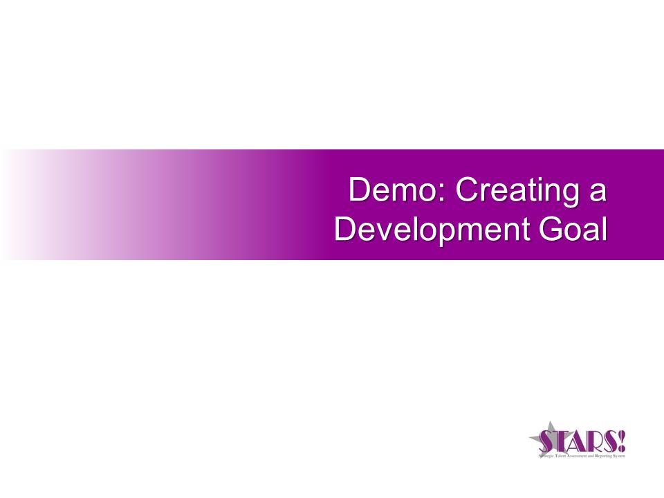 Demo: Creating a Development Goal