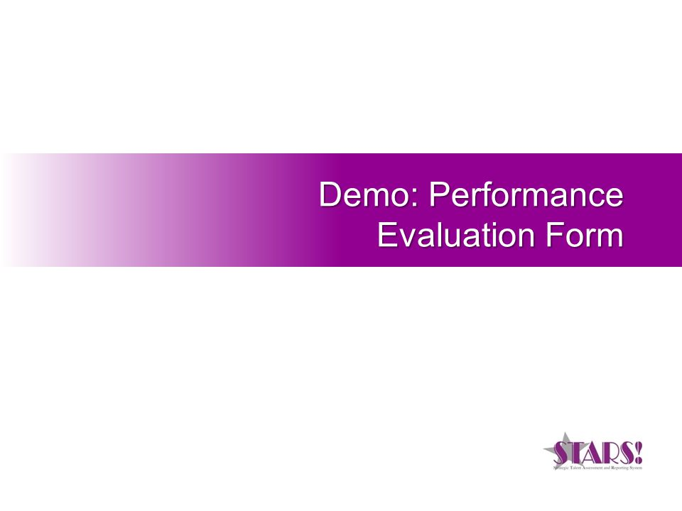 Demo: Performance Evaluation Form