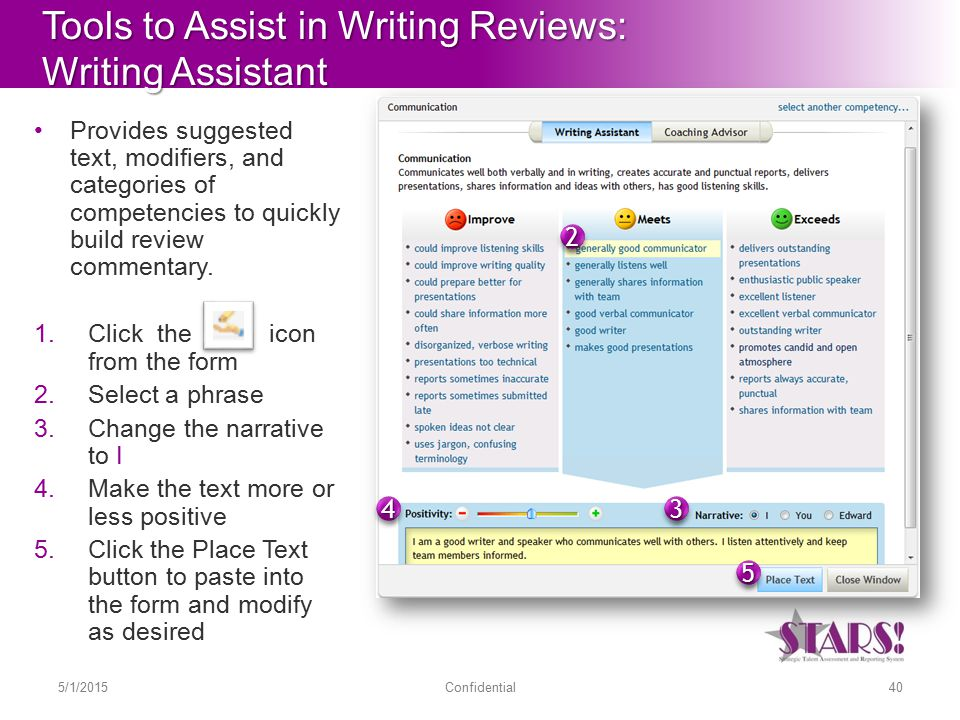 Tools to Assist in Writing Reviews: Writing Assistant Provides suggested text, modifiers, and categories of competencies to quickly build review commentary.
